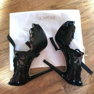 Black Patent Leather Peeptoe Platforms